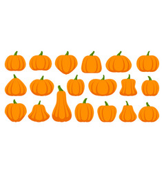 Pumpkin simple flat color icons set vector