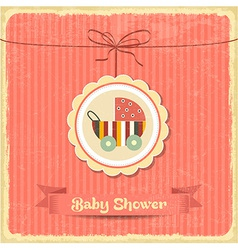 Retro baby shower card with stroller vector
