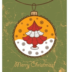 Retro greeting card with glass ball and Christmas vector