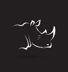 rhino head on black background wild animals easy vector image