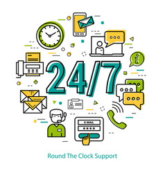 round the clock support - round concept vector image