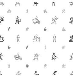 Runner icons pattern seamless white background vector