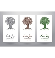Set of business cards with logo elegant tree vector