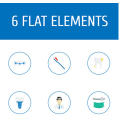 set of dental icons flat style symbols with tooth vector image