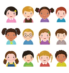 Set of different avatars of boys and girls vector