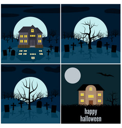 set of four halloween vector image