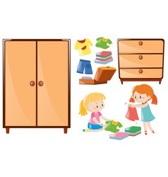 Set of girls folding clothes and closets vector