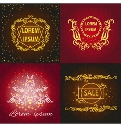 Set shiny cards pattern ornament vector image