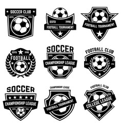 Set soccer football emblems design element vector
