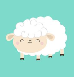 Sheep lamb icon sleeping eyes cloud shape cute vector