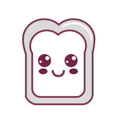 Silhouette kawaii cute happy bread icon vector