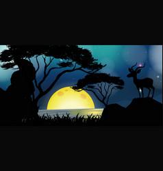 Silhouette scene with deer lake vector