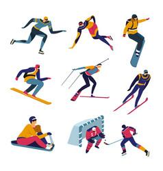 skiing and snowboarding winter sports skating vector image