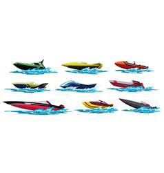 speed motorboats sea or river vehicles nautical vector image