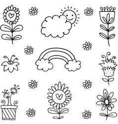 Spring theme doodles vector