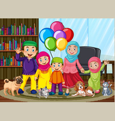 Stay at home with muslim family in living room vector