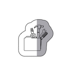 Sticker monochrome contour with folder and hand vector