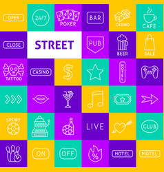 street sign line icons vector image