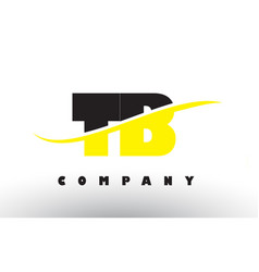 Tb t b black and yellow letter logo with swoosh vector