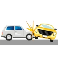 Two cars faced on road vector image