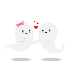 two cute little love ghosts are with smile vector image