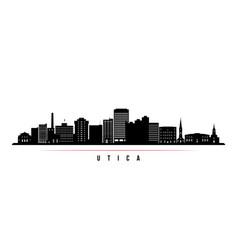 Utica skyline horizontal banner black and white vector