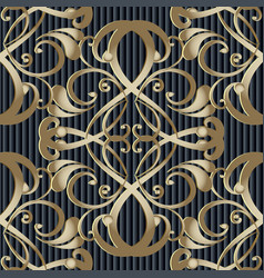 vintage baroque 3d seamless pattern striped vector image