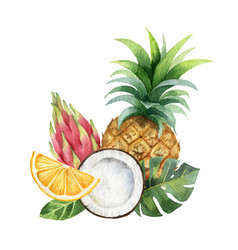 Watercolor hand painted card exotic vector