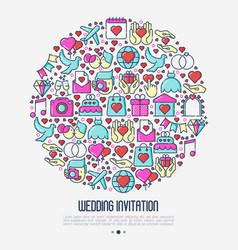 Wedding invitation concept in circle vector
