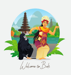 Welcome to bali greeting card with balinese dancer vector