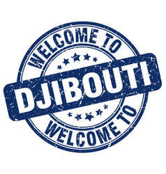 welcome to djibouti blue round vintage stamp vector image