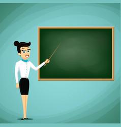 Woman teacher show pointer on blackboard back vector