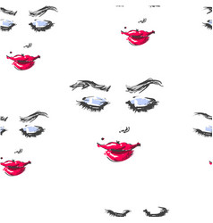 woman with red lipstick looking down and smiling vector image