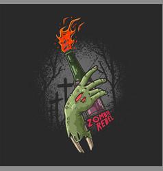 zombie hand bring molotov vector image
