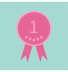 Badge ribbons and number one Five stars Award vector image