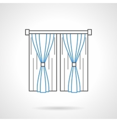 Bedroom curtains flat line icon vector image vector image