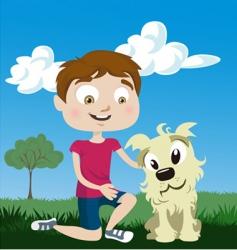 cartoon boy with dog vector image vector image