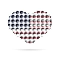 I love USA Creative heart flag vector image vector image