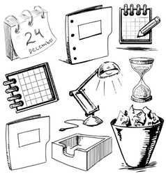 Collection of office objects vector image