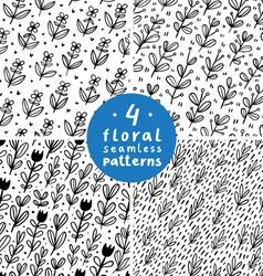 Flower fields patterns set vector image