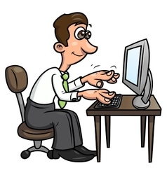 Man is working on the computer 2 vector