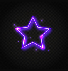 Neon purple star frame with space for text vector