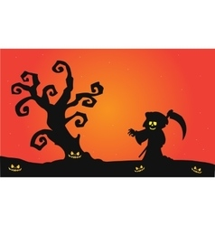 Scary witch halloween silhouette vector image vector image