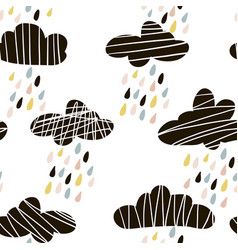 Seamless pattern with clouds and hand drawn shapes vector