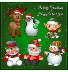Snowmans and team on a green background vector image vector image