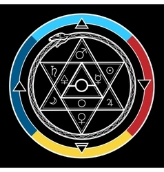 Alchemy hexagon in a circle vector image