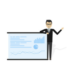 Businessman showing market share graph vector