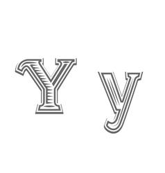 Font tattoo engraving letter Y vector image vector image