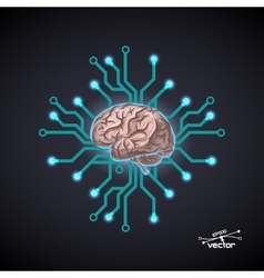 Futuristic computer brain vector image vector image