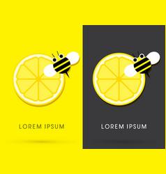 lemon and bee vector image vector image